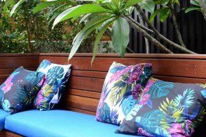 Frangipani tree and seating