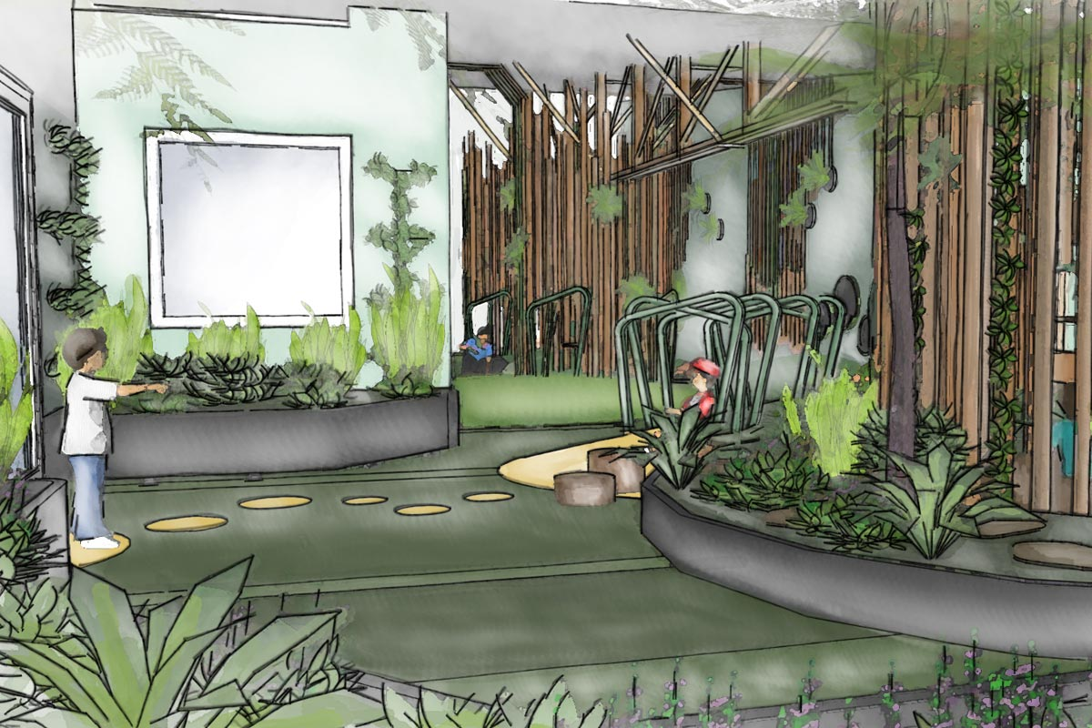 Conceptual sketch perspective of timber play towers and lush planting