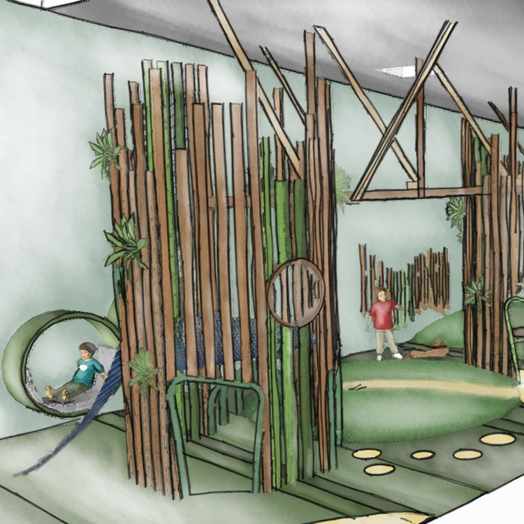 Close up conceptual sketch perspective of secondary timber play towers with grass mounds and tactile winding pathways