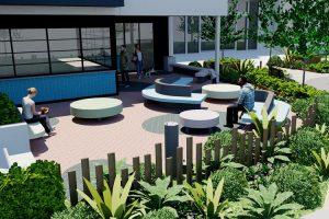 Cafe landscape with lightweight concrete seating and soft planting