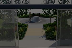 3D perspective of dog bowl water feature and main entrance at RSPCA