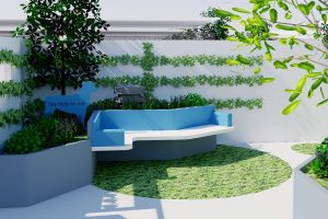 lightweight concrete bench seat with raised planter and water feature