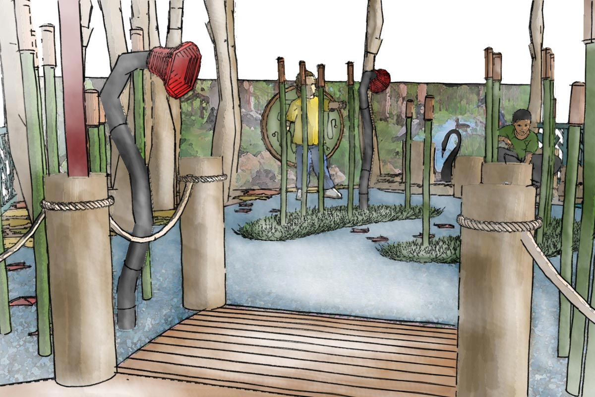 Close up conceptual sketch perspective from the boat shed looking out to the magical reed beds with native birds and animals