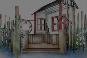 Close up conceptual sketch perspective of the timber boat shed and surrounding magical reed beds