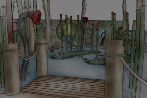 Conceptual sketch perspective of the timber bridge looking out to the