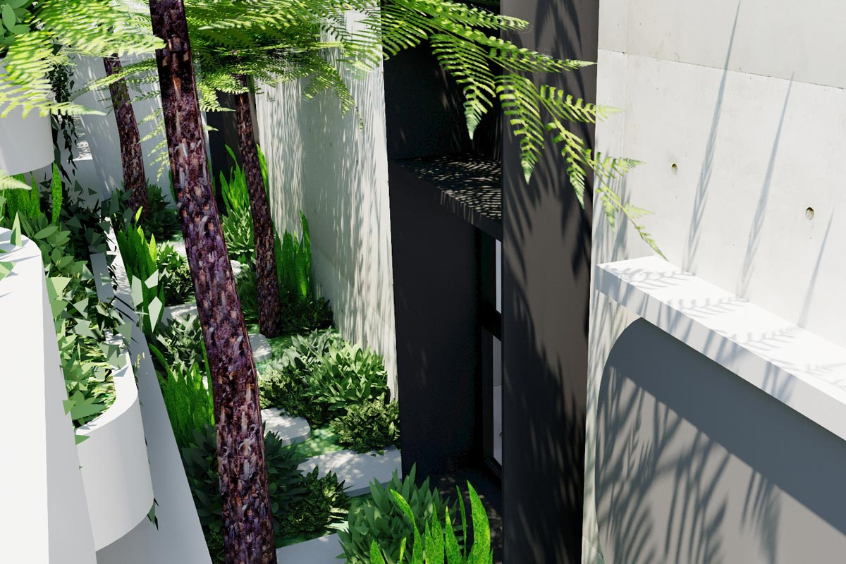 View of side garden seen from inside the apartment to create shade and privacy