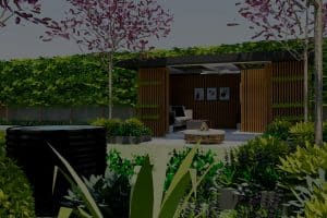 View of pool house and external lounger room from lush garden bed