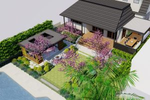 Elevated view of rear garden with pool house and external lounge room, statement feature tree framed lawn area and pool