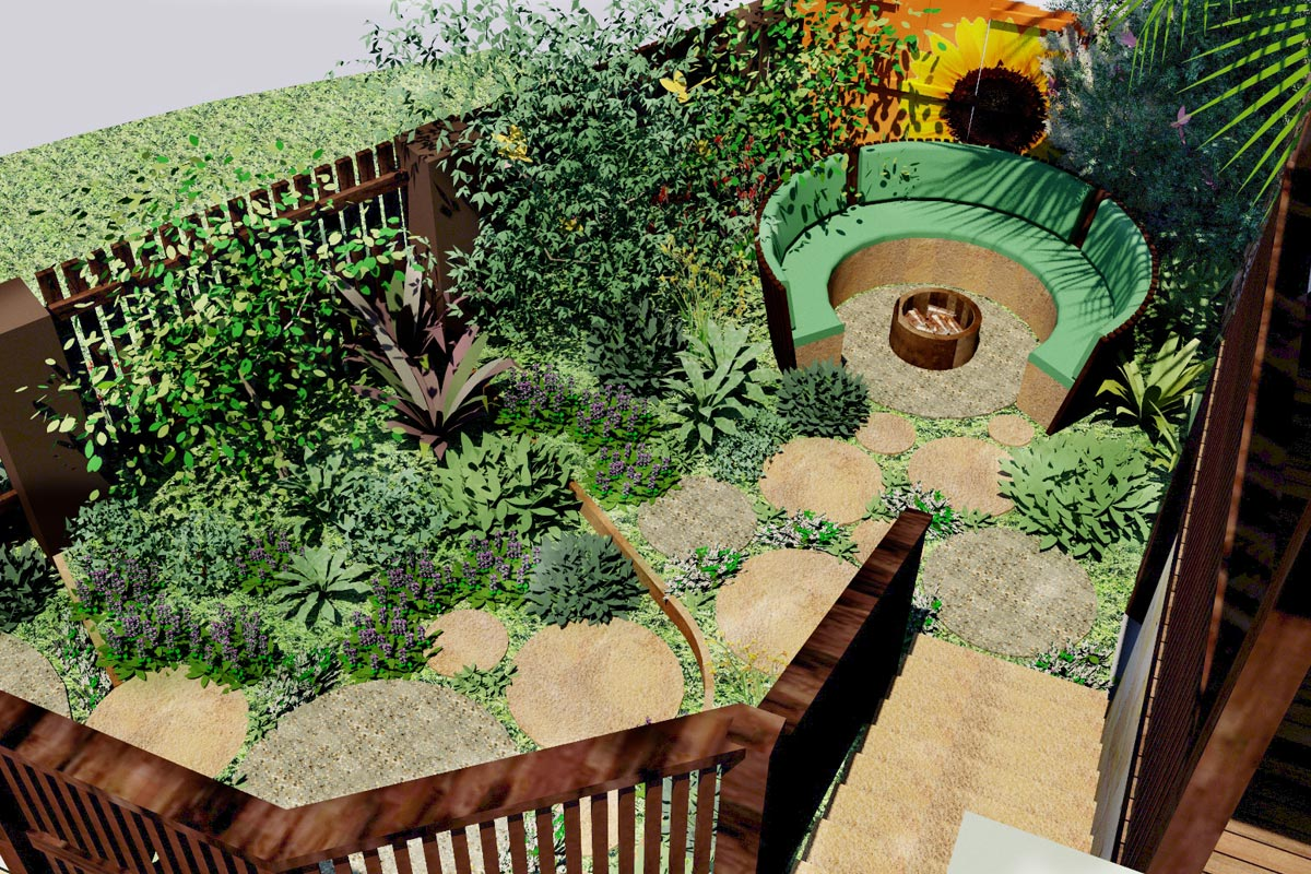 Perspective from the Upper Deck into garden