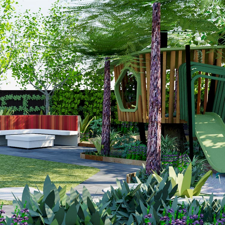 View across feature lawn to outdoor seating and bespoke tree house