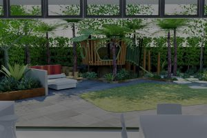 View from kitchen dining area out across feature lawn to outdoor seating and bespoke tree house