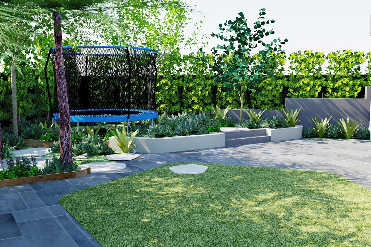 Rejuvenated terraced garden area to trampoline