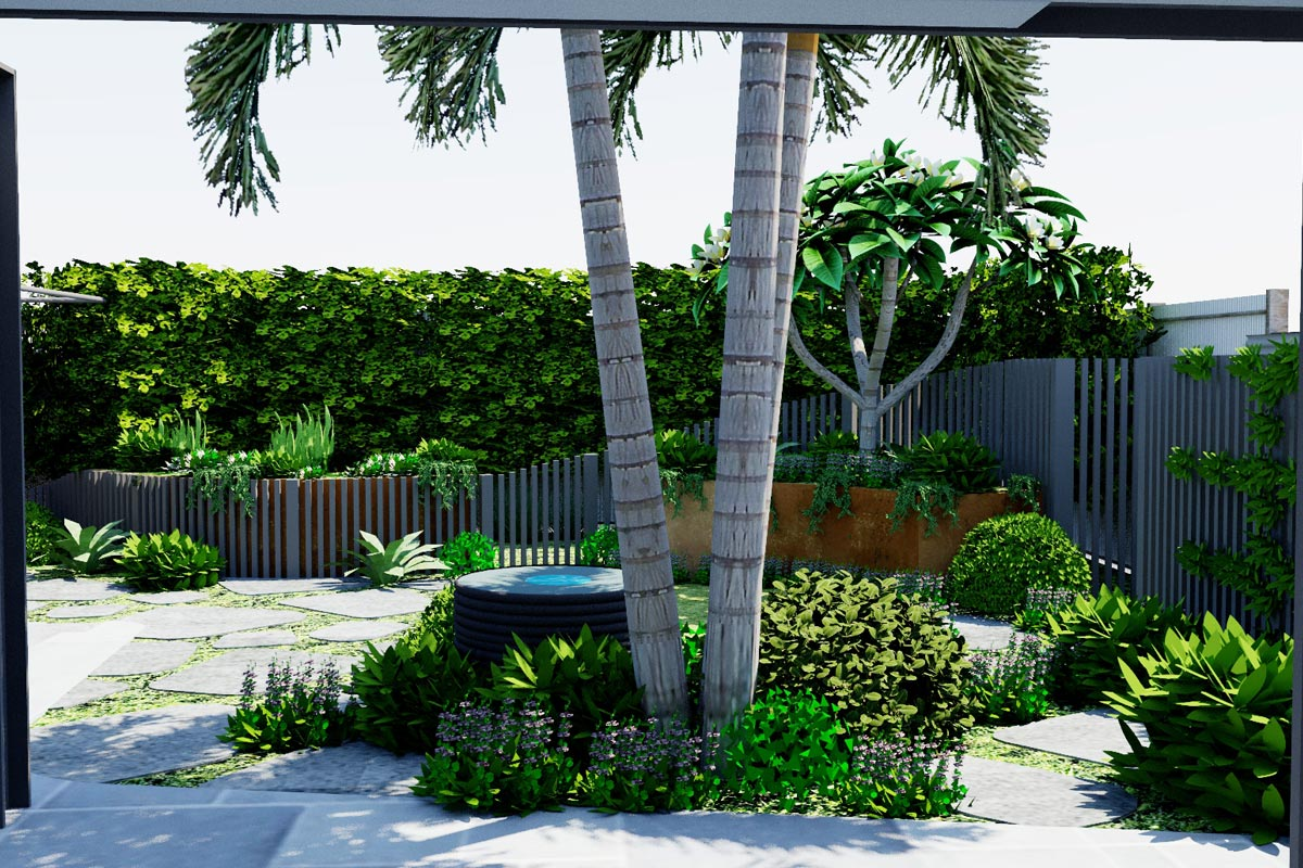 View out to garden across existing palm trees and central water feature garden