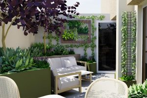 View to flexible lounge seating with feature frame and wall mounted planters