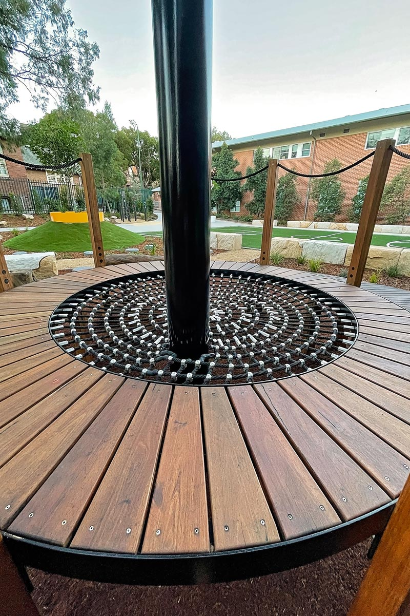 Deck with climbing rope