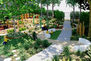 Overview of meandering pathways and lush sensory garden beds woven through play elements