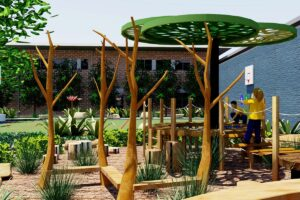 Bespoke sculptural tree overhead structure and natural timber play elements