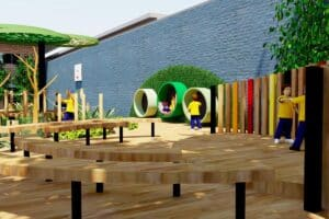 Outdoor classroom with curved timber seating and feature batten wall