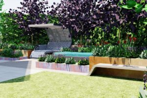 View to private seating nook, calming water feature and curved timber bench seat