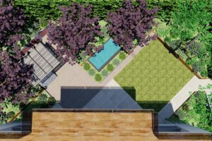 Aerial view of garden layout