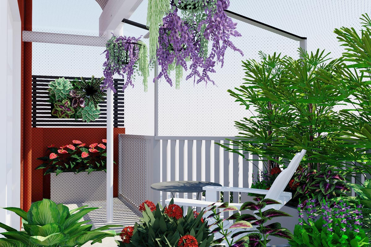 Enclosed balcony with planting