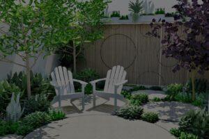 Perspective of the garden showing garage door