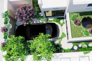 Bird's eye view of the garden showing the car in the flexible parking space