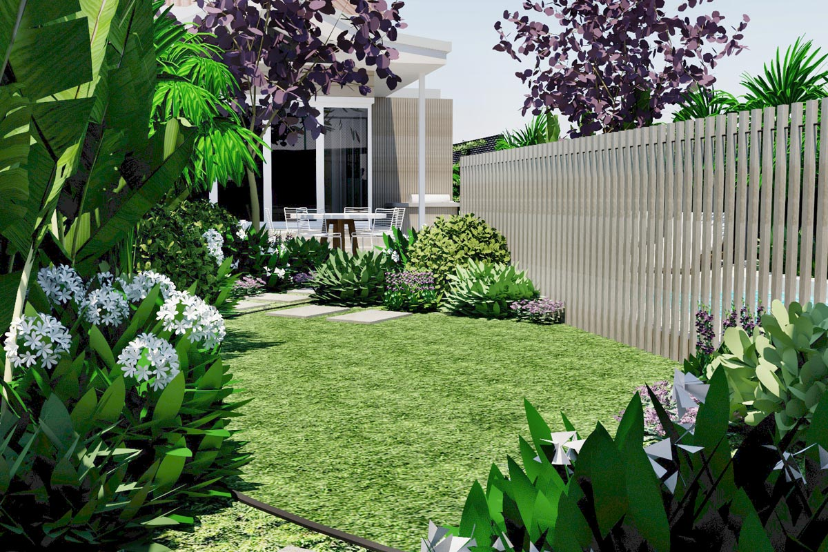 Lawn area, showing the new batten pool fence and soft planting