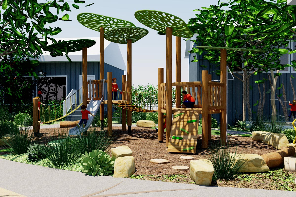 Play equipment with leaf-like shade structures